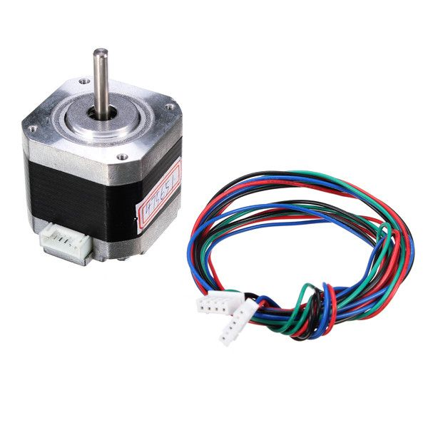 4240 Two-phase Four Wire Stepper Motor 1.8 Degrees 40mm For 3D Printer  Features: - Ambient temperature: -20 50 - RH: 90% max - Mounting position: horizontal or vertical axis - DC winding resistance (25 ): 1.6 10% - Welding inductance: 3.2mH 20% - Tightening torque: 18mN.m REF - Holding torque: 360mNm (I = 1.3A) - Max Switching frequency empty: 1400pps - Frequency Max. 8000pps - Accuracy of tilt angle: 1.8 5% - Rotational inertia: 57g.cm 2 - Weight of the engine: 0.28 kg / pcs REF…