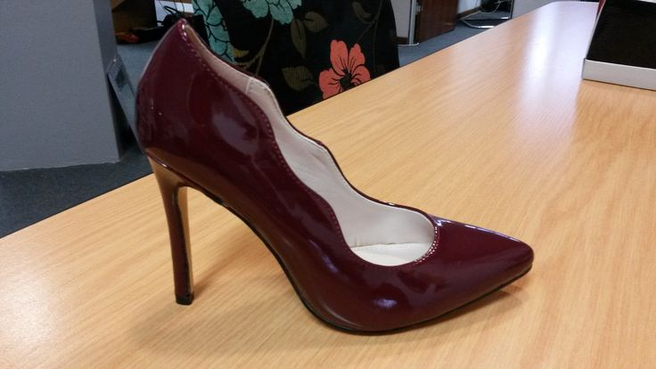 Burgundy Patent Leather High Heeled Court by Sissy Boy