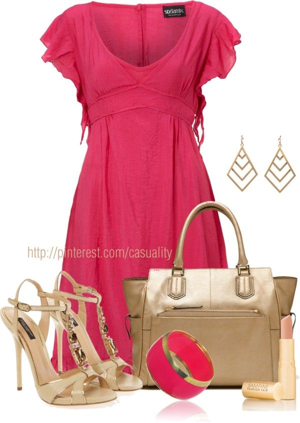 """""""Bold Pink Summer & Gold"""" by casuality on Polyvore"""