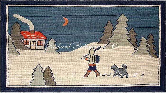 Hand Hooked Grenfell Rug -  Snowy Walk at Night