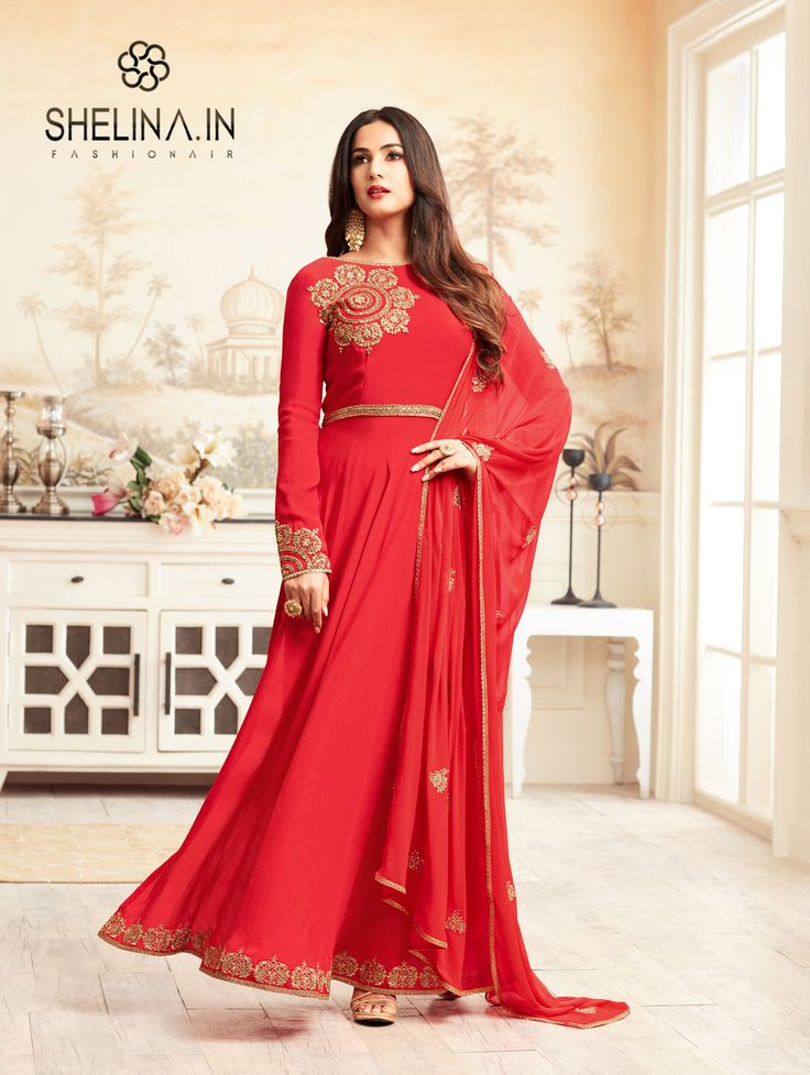 A Marvel Red colour Rangoli anarkali style salwar suit designe with Embroidery Work and Stone Work. Available with Red Santoon bottom and Red Chiffon dupatta. This suit can be customized upto 46 size