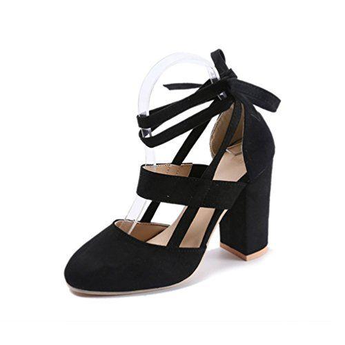 c7b93e0fddcc8a Sandales Talons Hauts Carrés - Chaussure Bout Pointu Escarpin Bride  Cheville Lacet Sandale Femme Noir 37
