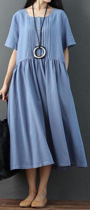 a0b1a6d4ea4b fashion-cotton-linen-sundress-Literature-Women-Splicing-Short -Sleeves-Pleated-Loose-Women-Summer-Blue-Dress