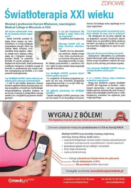 Światłoterapia - na ból w każdym wieku - więcej o urządzeniu na str 9 lipcowego numeru magazynu oraz na stronie http://www.medlightpolska.pl/instrukcje-obslugi/filmy/