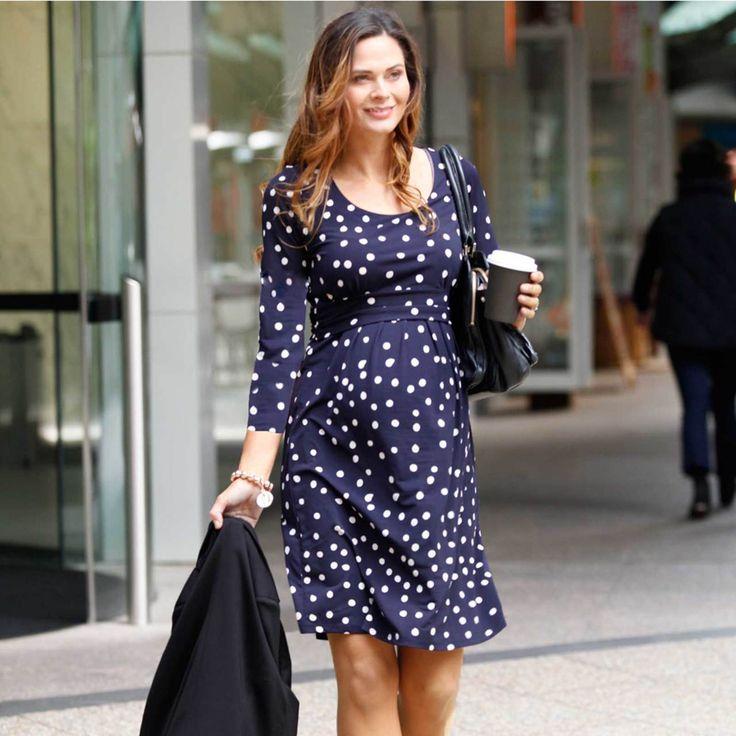 Angel Maternity Long Sleeve Nursing Dress - Navy Spots. Breastfeeding Clothing Online