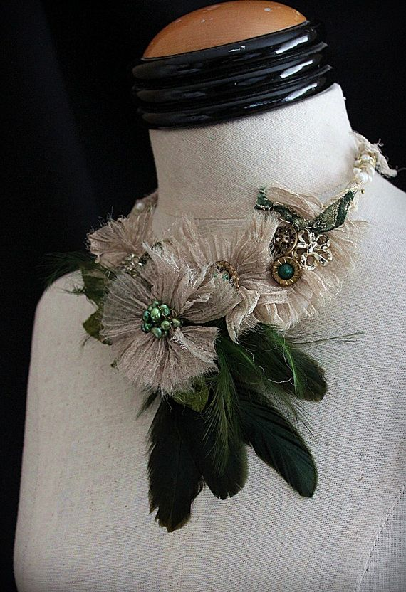 GREEN GODDESS I Green Gold Feather Statement Bib by carlafoxdesign, $125.00