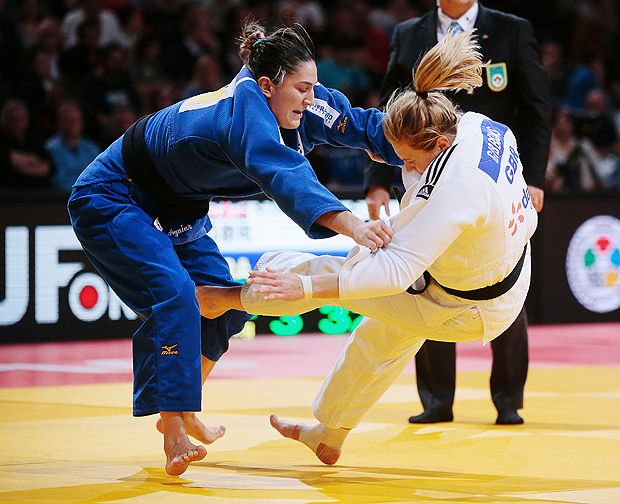 Mayra Aguiar, na semifinal do Grand Slam de Paris, em que conquistou o ouro, no domingo (5/2)