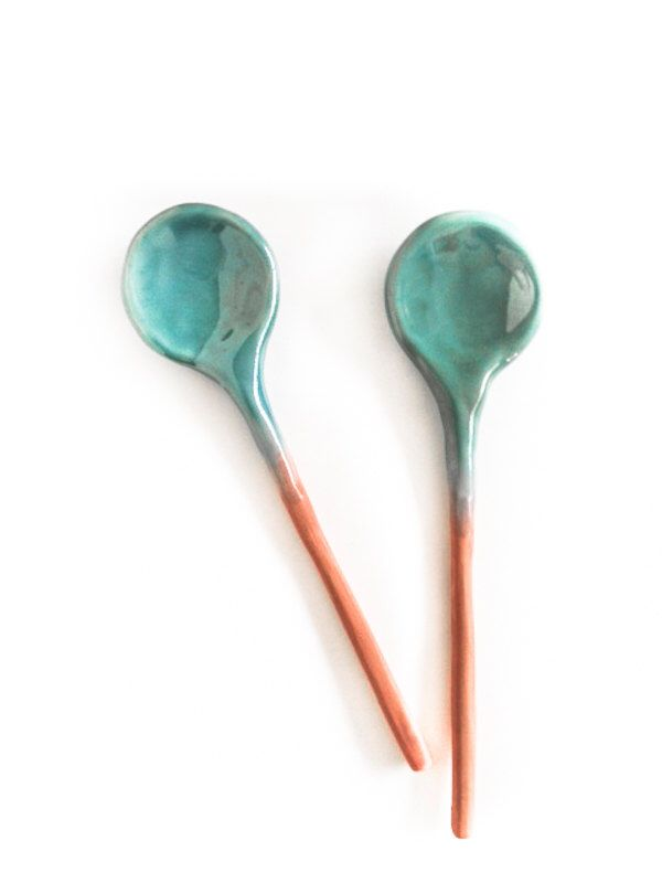 Ceramic Spoons Home Decor Handmade turquoise Glaze - pair of spoons by aveshamichael on Etsy https://www.etsy.com/listing/204513259/ceramic-spoons-home-decor-handmade