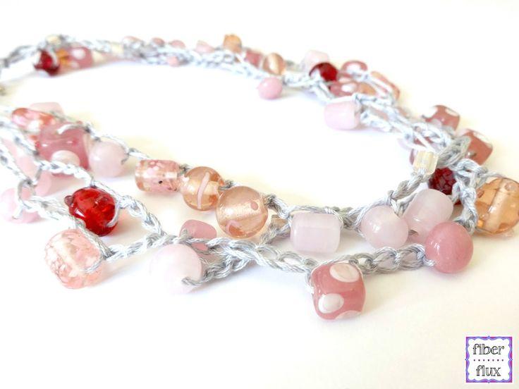 Glass Bauble Necklace, free crochet pattern from Fiber Flux
