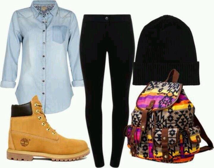 cute outfit with timberlands