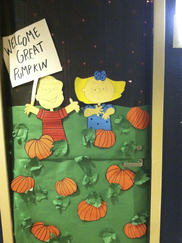 DIY Halloween Door decoration that was on a college dorm door, also great with classroom doors. Theme: It's the great pumpkin Charlie Brown. It's just butcher paper with lights behind.