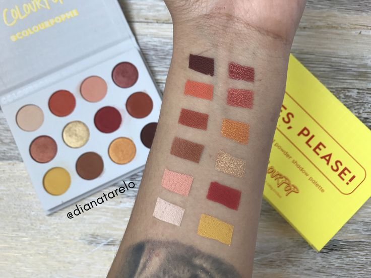 Swatches of the Colourpop Yes Please palette, under natural light. https://www.youtube.com/channel/UC76YOQIJa6Gej0_FuhRQxJg