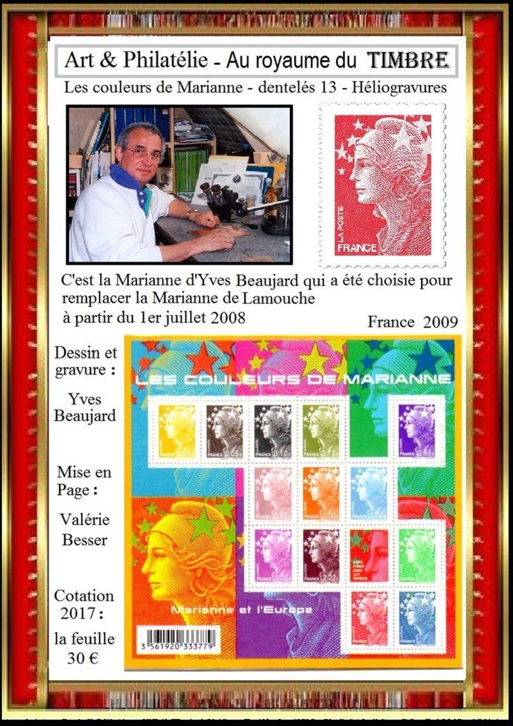 Par Yves Beaujard, les couleurs de Marianne ou Marianne et l'Europe - France le bloc de 2009 et document officiel de 2010  ════════════ ❄❄ Alittlemarket ☞ https://www.alittlemarket.com/boutique/au_royaume_du_timbre-3130013.html