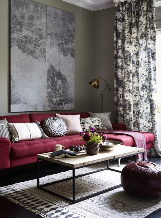 Deeply dramatic - mulberry shades and grey. Niki Jones Concentric Cushion, Harlequin and Geocentric.
