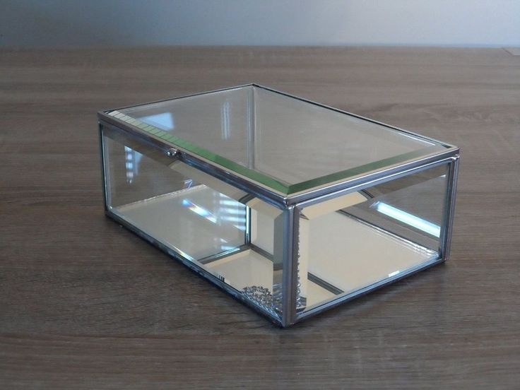 Glass Mirrored Trinket Box Jewellery Storage Jewelry Case Bed Room Vanity Gift
