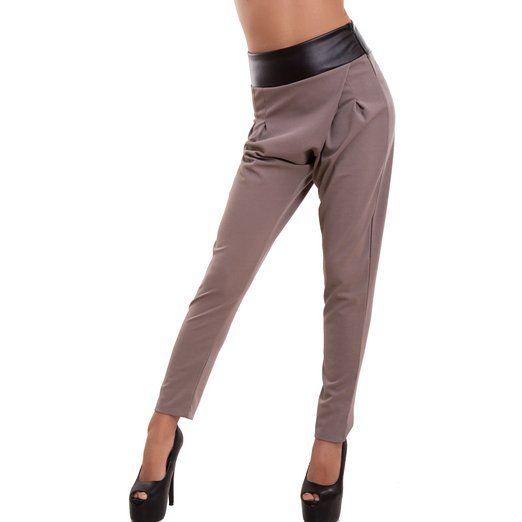 Toocool - Pantaloni donna cavallo basso vita alta ecopelle portafogli sexy nuovi AS-4866 [XL,Fango]
