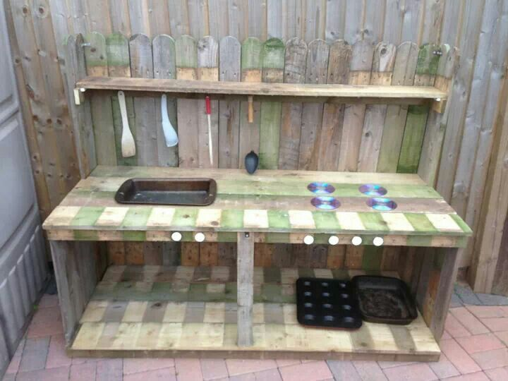 Mud kitchen - I like the CDs for hob rings!