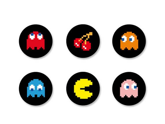 Batch Badge Button Pinback pine o25mm - o38mm / o38mm Game Arcade games PacMan Gaming Gamer Geek Vintage Retro Magnet Badge 25mm technical data: -Badge with diameter 25mm Metal shell -Badge printing process color -Badge protected from the water/UV by a mylar film -PIN fixing slotted on the back of the badge -Weight of the badge 25mm: 1.80 grams -Manufacturing 100% French  Badge 38mm technical data: -Badge with 38mm diameter Metal shell -Badge printing process color -Badge protected ...