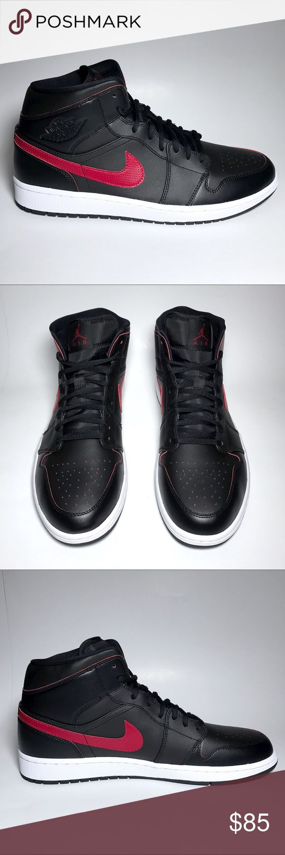 NIB Jordan 1 Mid Black Red Basketball Shoes These are BRAND NEW IN ORIGINAL BOX. Never worn. Completely DEADSTOCK. The sneakers pictured are the shoes you will receive. Check my ratings, 100% Guaranteed to be authentic. Jordan Shoes Sneakers