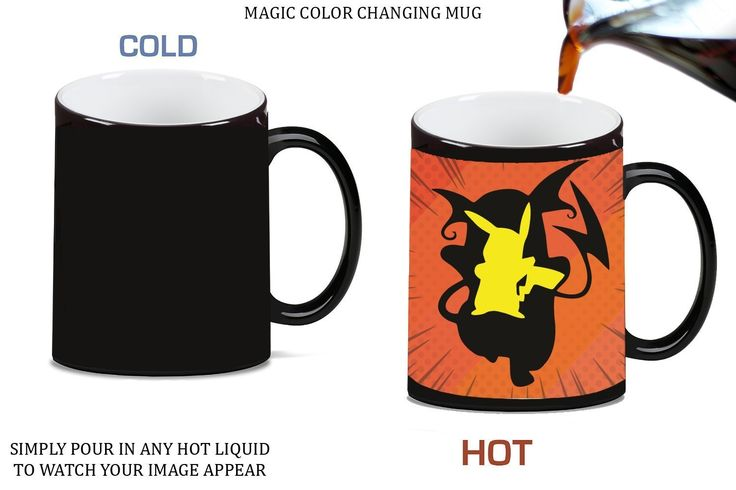 Pokemon Pikachu Raichu Evolution Silhouette Design Printed Image Artwork Magic Color Changing Ceramic Coffee Mug Tea Cup by Trendy Accessories available at https://www.amazon.com/dp/B06XWPT6ZN #mug #drinkware #beverageaccessories #pokemon