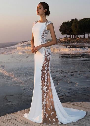 Fabulous Stretch Chiffon Bateau Neckline See Through Mermaid Wedding Dress With Beaded Lace Appliques from MrTang
