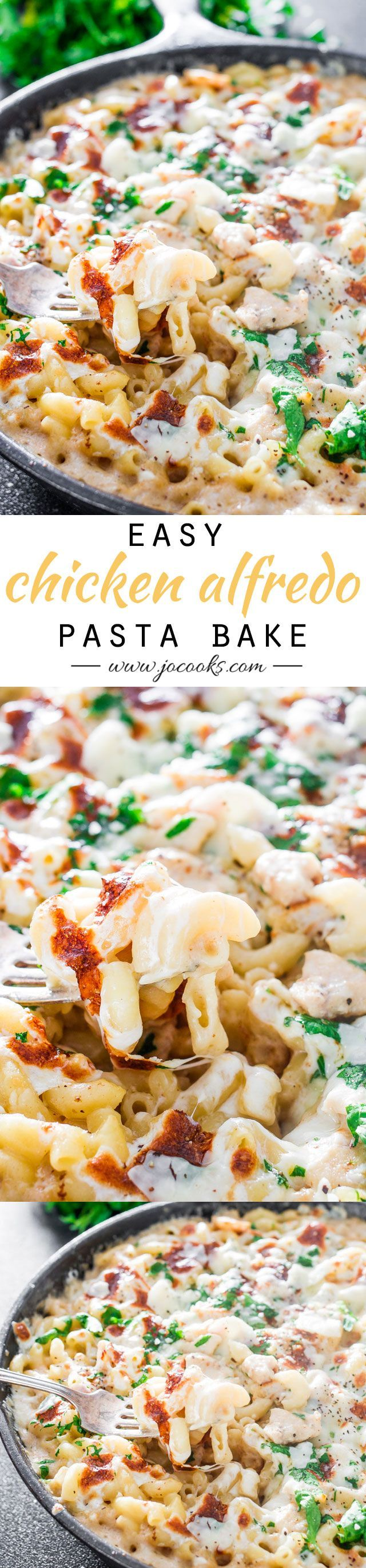 Easy Chicken Alfredo Pasta Bake - A delicious, no-fuss dinner that you can easily make at home with very few ingredients!