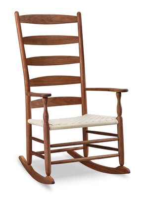 Tappan Five Slat Rocker: Appearing again in the Tappan Chair line for possibly the first time since the late 1800's, in 2014 the five slat Tappan Rocker was brought back into production thanks to a 2014 Kickstarter project that received wide media coverage and attention.  |  www.chiltons.com  |  #Maine #chiltons #shaker #chair #rocker #walnut #rockingchair #furniture