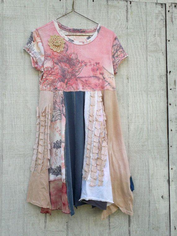 oversized Floral Panel Dress by CreoleSha upcycled by CreoleSha