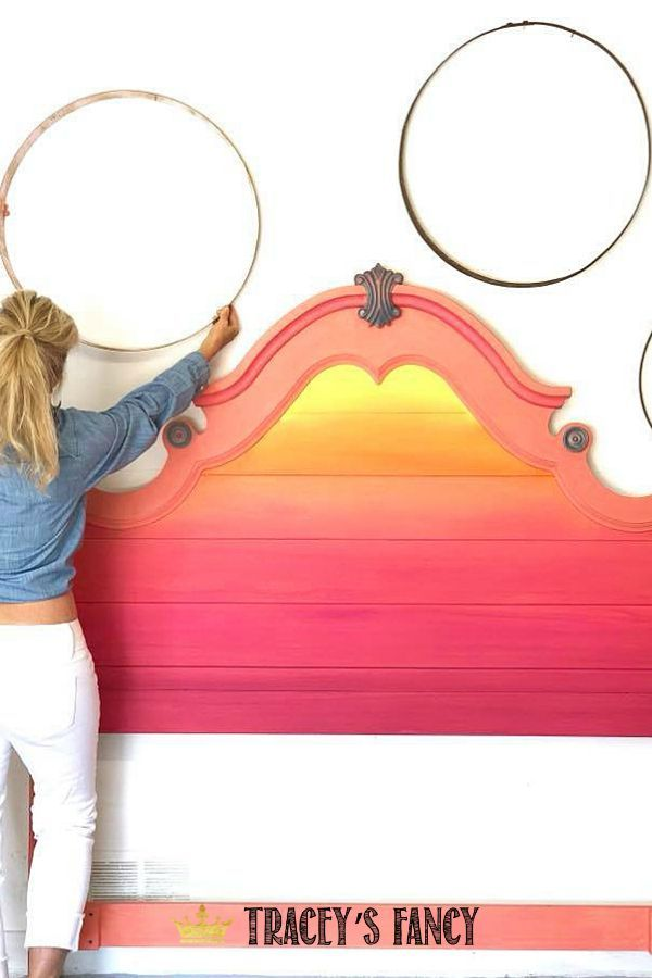 Bright Color Blended Sunset Headboard Bright Colored Furniture Colorful Furniture Painted Bedroom Furniture