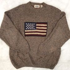 Mens Vintage Redhead American Flag Sweater Size Large