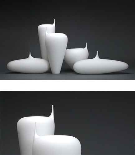 White Asymmetries DB Glassworks. Really like these shapes...and white glass is captivating.