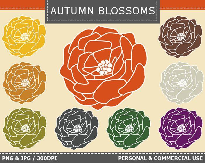 70% OFF SALE 9 Digital Autumn Blossoms Clip Art Autumn, Harvest, Flowers, Blossoms, Fall Clip Art