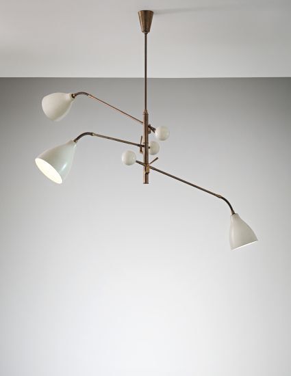 PHILLIPS : UK050114, Arredoluce, Three-armed adjustable ceiling lightPainted aluminium, tubular brass, painted brass, brass.  82 x 138 x 83 cm (32 1/4 x 54 3/8 x 32 5/8 in.)