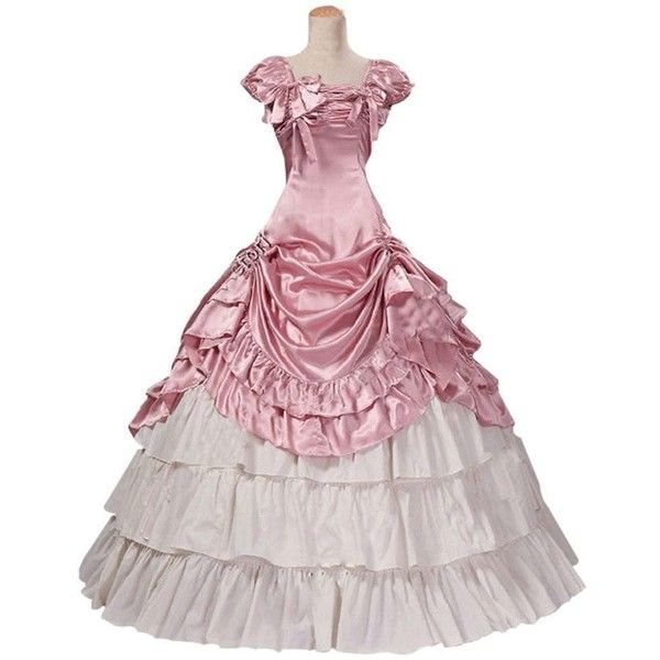 Victorian Lolita Southern Belle Period Satin Ball Gown Short Sleeve... ❤ liked on Polyvore featuring dresses, gowns, gown, prom ball gowns, white dress, victorian gown, white short sleeve dress and prom dresses
