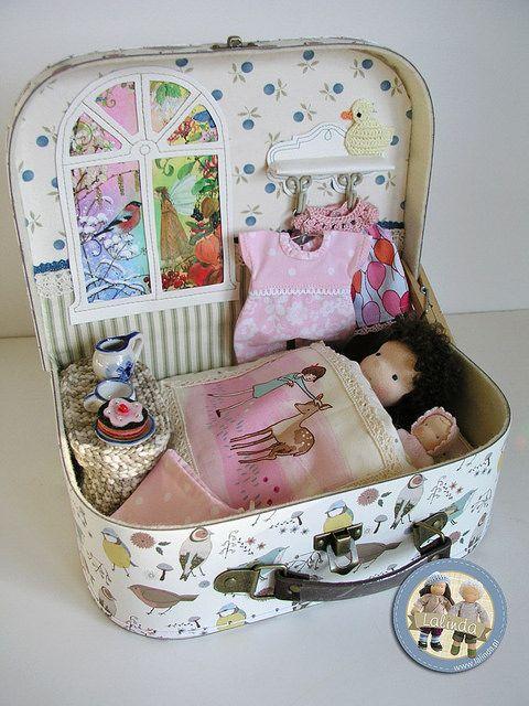 Waldorf dolls Beatka and Bobo - suitcase set by Lalinda.pl   Flickr - Photo Sharing!