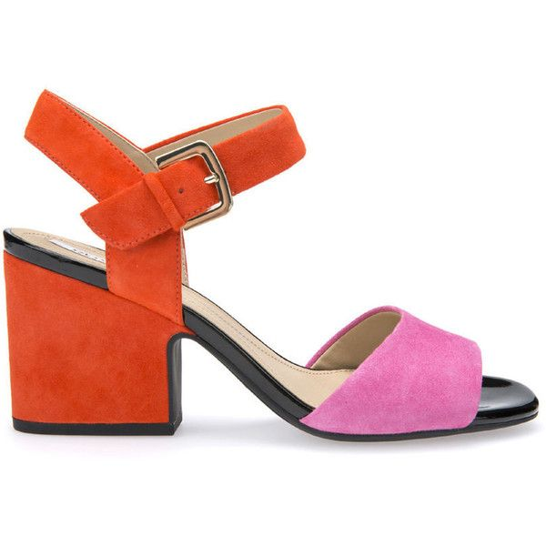 Geox Marilyse ($90) ❤ liked on Polyvore featuring shoes, sandals, heeled sandals, pink and orange, geox sandals, pink heeled sandals, orange heeled sandals and geox footwear