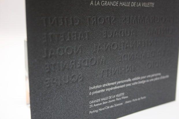 Gaufrage au verso (foulage) sur papier design pour Canal+