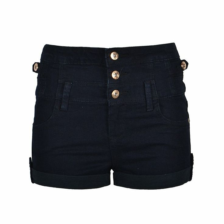 High waist denim short with three button and classic four pocket styling.