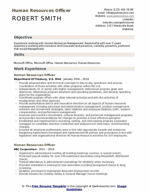Human Resources Officer Resume Samples Qwikresume Security Resume Resume Examples Human Resources Resume