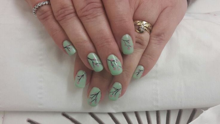 Cherry blossom uv gel nails