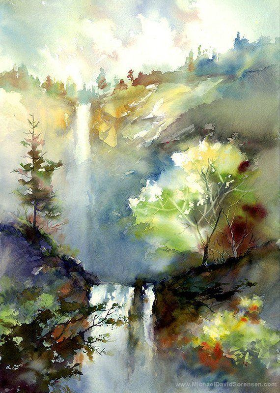 The Water And The Light Watercolor Painting Print By Michael