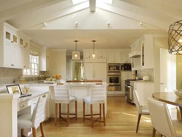 Contemporary Kitchens (Alan Hilsabeck Jr., Home and Garden Television) with blonde floorboards, white cabinetry, stainless steel appliances and soft cream and natural tones