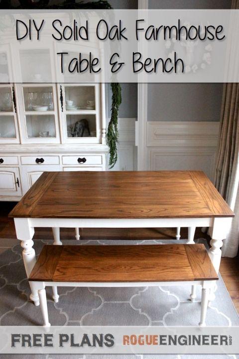 DIY Elegant Oak Farmhouse Table | Free Plans | Rogue Engineer