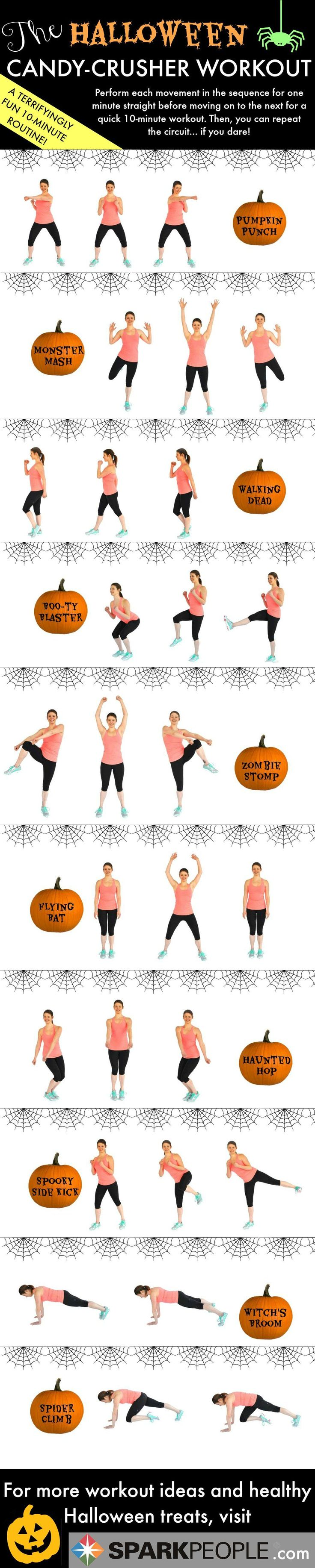 Scare away the Halloween candy calories with this calorie-crushing workout! Kick, squat and punch your way through the extra candy calories!