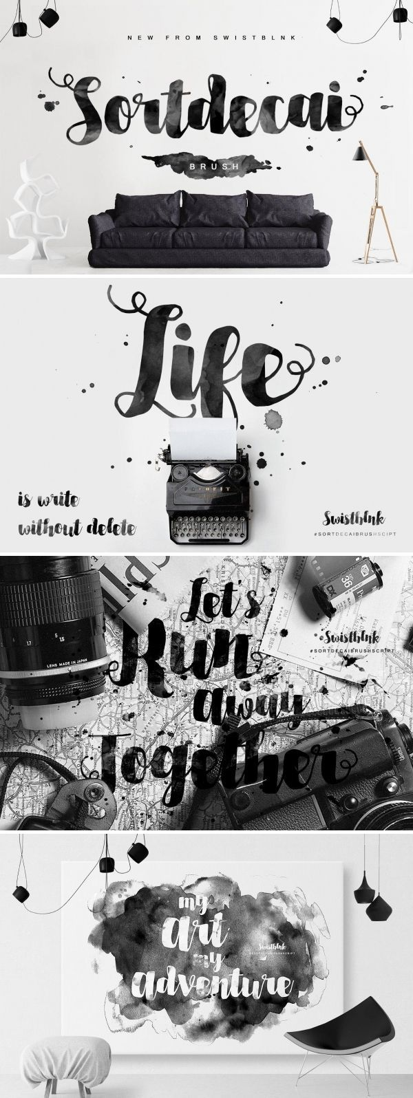 Introducing our new Sortdecai Brush Script, Sortdecai Brush Script is another hand lettered modern brush script typefaces, which is combining the style of classic calligraphy with an modern style. Sortdecai Brush Script is a part of Sortdecai Family. #font #typeface #typegang #typespire #typematters #type #fontdesign #typography #graphicdesign #typographyinspire #script #bold #handmadefont