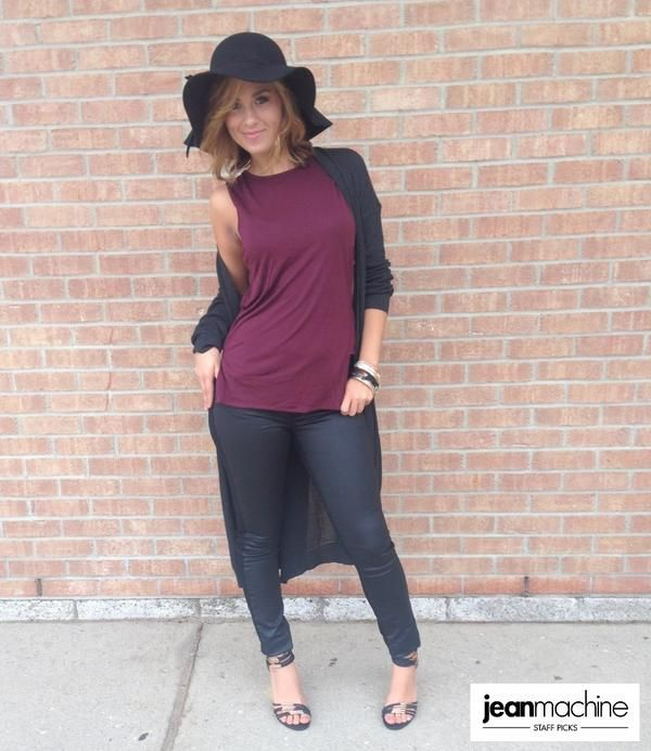 """Samantha is rocking a moto inspired look in @buffalojeans skinnies, a wine cut-out top from @veromodafashion  and a knee length maxi-cardi! A full """"how to"""" for this look on the blog: http://bit.ly/1uIOzKR"""
