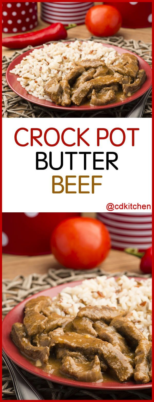 Slow Cooker Butter Beef - Recipe is made with dry onion soup mix, beef stew meat, butter   CDKitchen.com