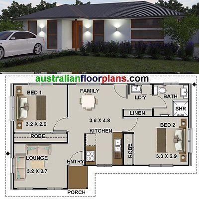 Plan de casa de 2 habitaciones pequeñas/abuela Plana/Diseños/planes de construcción para la venta