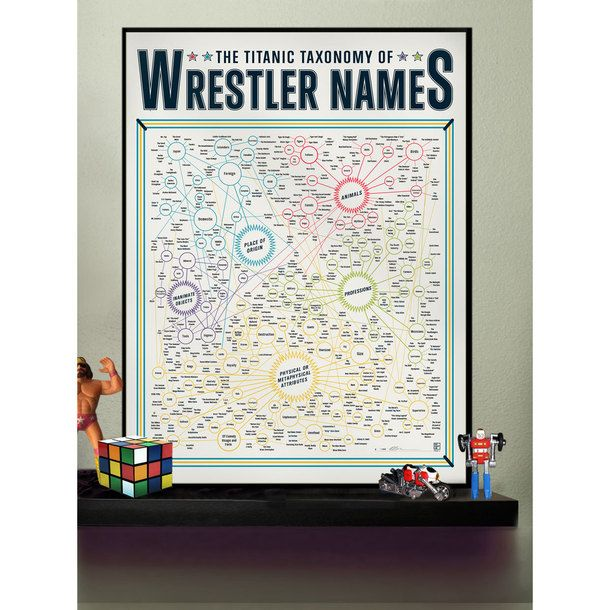 Taxonomy Of Wrestler Names 18x24 by Pop Chart Lab | Fab.com
