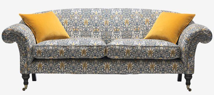 William Morris Large Browning Sofa Snakeshead Indigo & Hemp sofa workshop - Like style, pattern a bit crazy!!